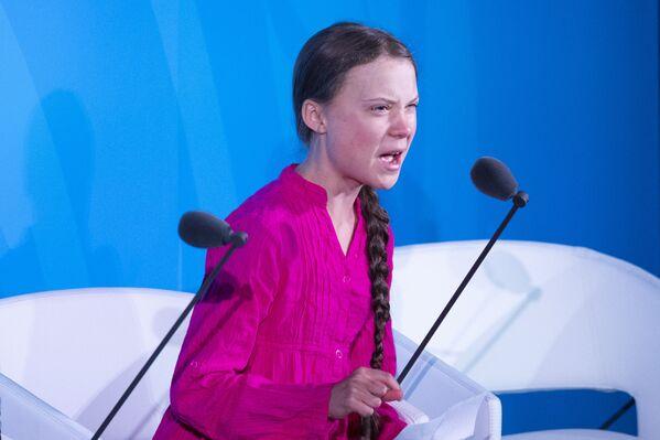 Greta Thunberg, activista medioambiental, interviene ante las Naciones Unidas, el 28 de agosto de 2019 - Sputnik Mundo