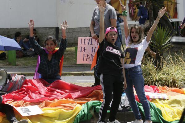 Manifestantes a favor del matrimonio igualitario en Quito (Ecuador), el 4 de junio de 2019 - Sputnik Mundo