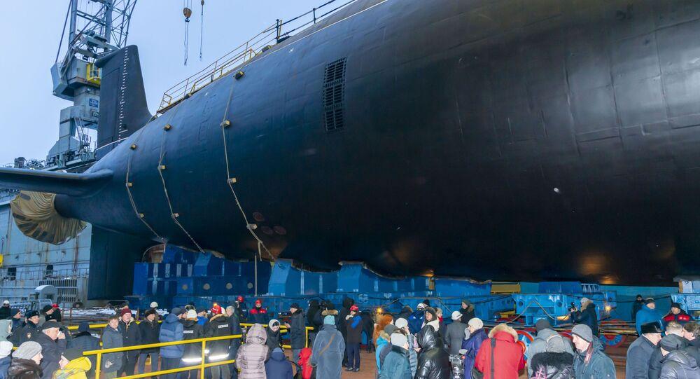 Lanzamiento del submarino nuclear Novosibirsk del proyecto Yasen-M en Severodvinsk