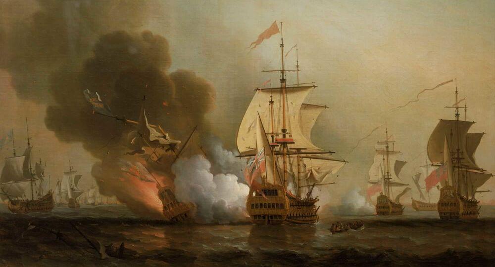 Explosión del galeón San José (ilustración de Samuel Scott)