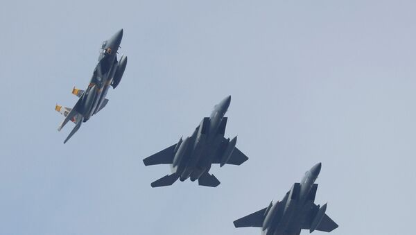 Cazas estadounidenses F-15 (archivo) - Sputnik Mundo
