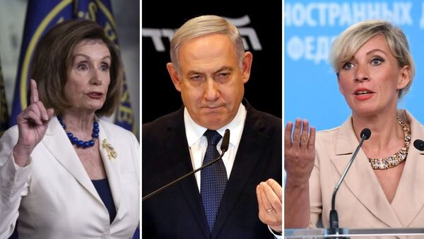 Nancy Pelosi, presidenta de la Cámara de Representantes de EEUU; Benjamín Netanyahu, primer ministro israelí; María Zajárova, portavoz del Ministerio de Exteriores de Rusia - Sputnik Mundo