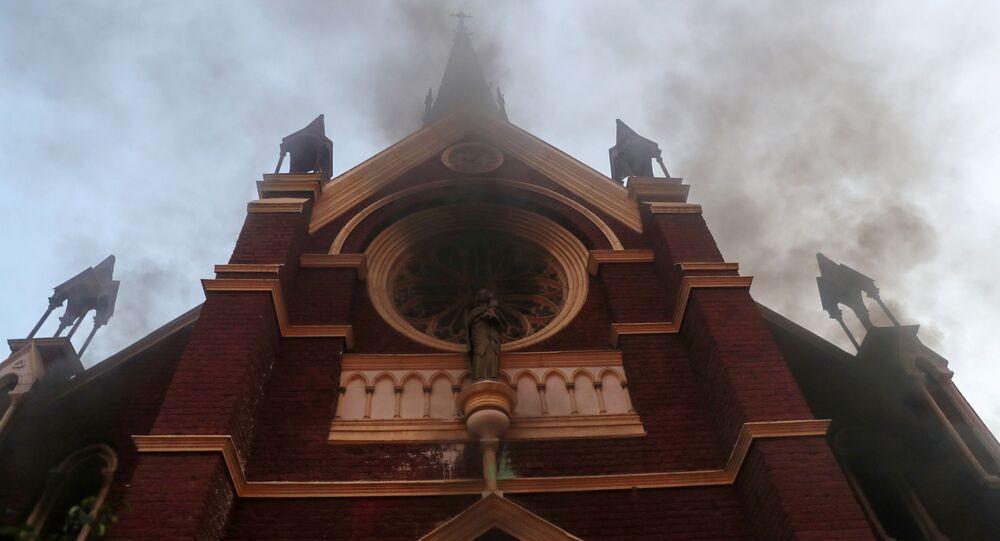 Incendio en la iglesia San Francisco de Borja