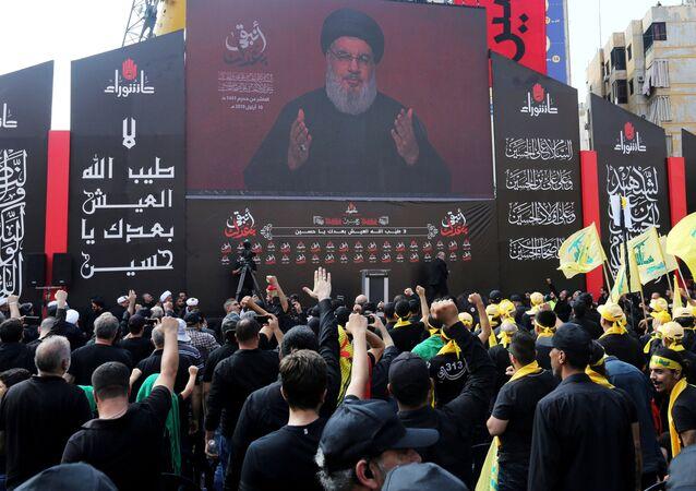 Una imagen de Hasan Nasrala, líder del grupo chiíta libanés Hizbulá