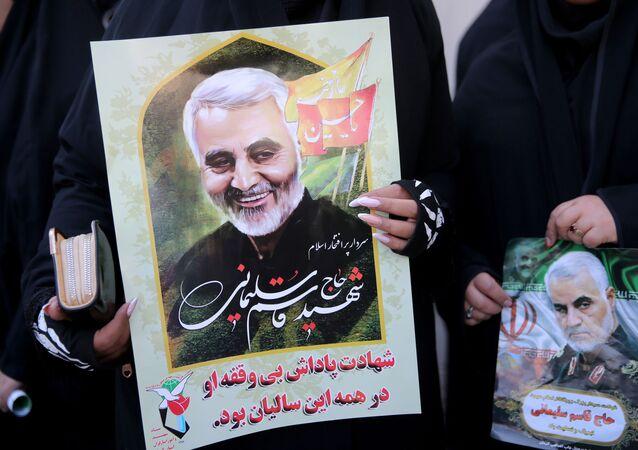 Un retrato del general Soleimani, asesinado por EEUU