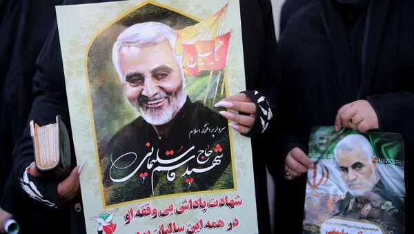 Un retrato del general Soleimani, asesinado por EEUU - Sputnik Mundo
