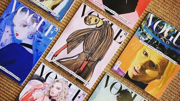 Las portadas ilustradas de la edición de enero de Vogue Italia - Sputnik Mundo