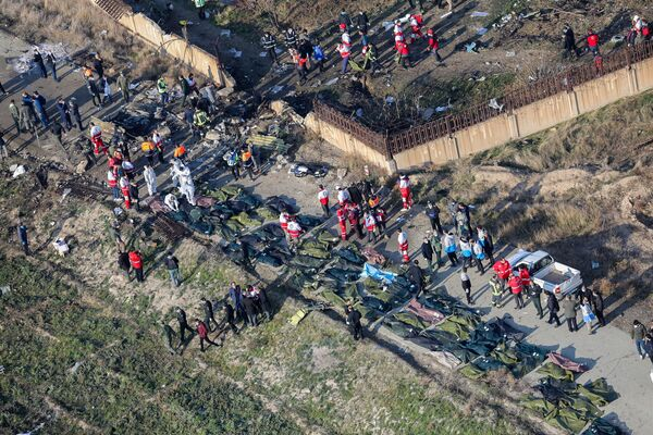 El lugar de la catástrofe aérea en Irán - Sputnik Mundo