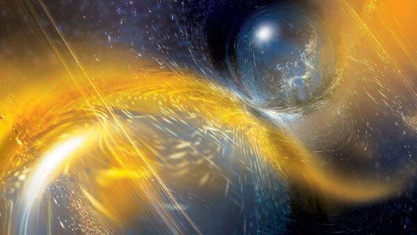 Colisión de dos estrellas de neutrones (ilustración artística) - Sputnik Mundo