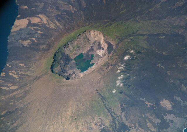 Volcán La Cumbre, las islas Galápagos