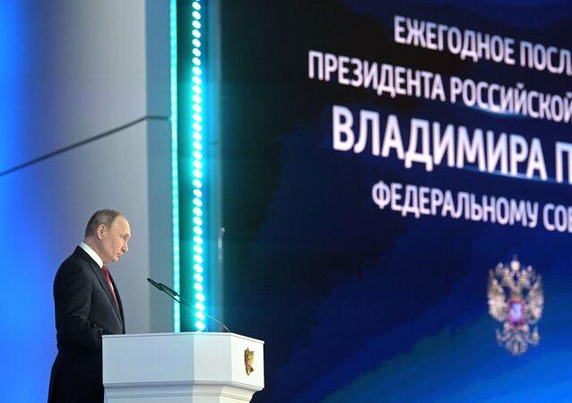 Vladímir Putin, presidente de Rusia, durante su mensaje al Parlamento