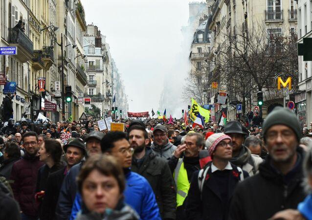 Protestas en París contra la reforma de pensiones el 9 de enero