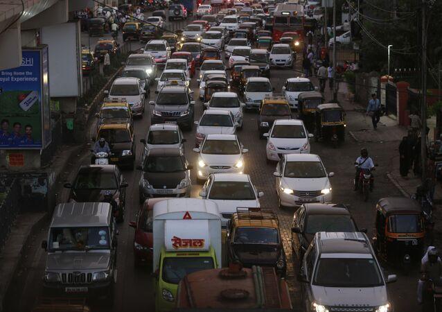 Un atasco en la ciudad de Bombay (India)