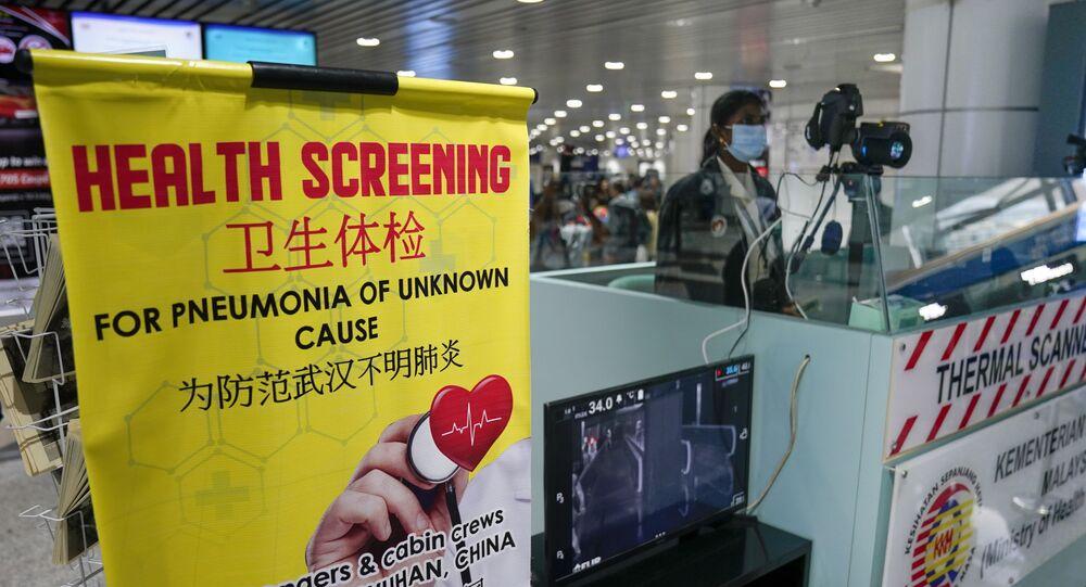 Estación de inspección sanitaria en el aeropuerto internacional de Kuala Lumpur en Sepang (Malasia)