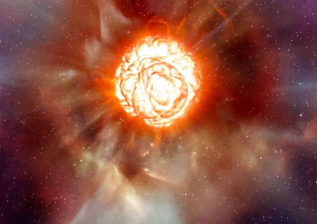 Betelgeuse, estrella roja supergigante (ilustración gráfica)