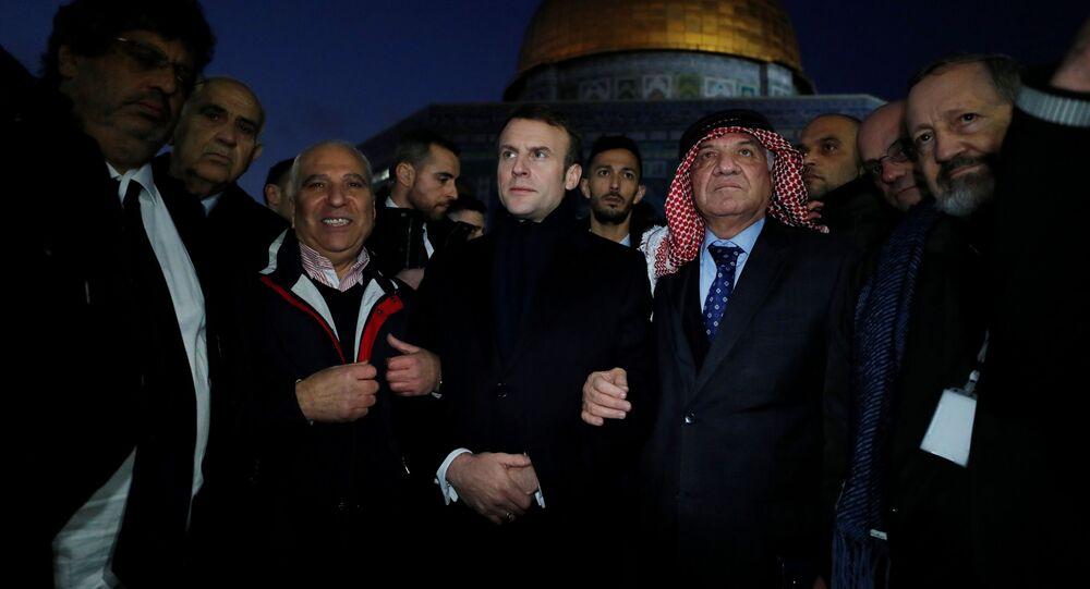 Emmanuel Macron, el presidente francés, en Jerusalén