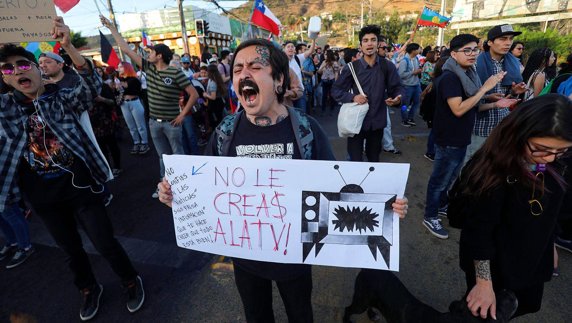 Manifestación de protesta en Chile - No le creas a la TV - Sputnik Mundo, 1920, 23.01.2020