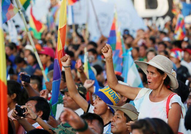 Bolivianos conmemoran los 14 años del Estado Plurinacional de Bolivia en Buenos Aires, Argentina