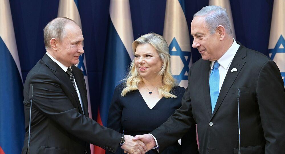 El presidente ruso, Vladímir Putin, el primer ministro de Israel, Benjamín Netanyahu, y su esposa Sara Netanyahu