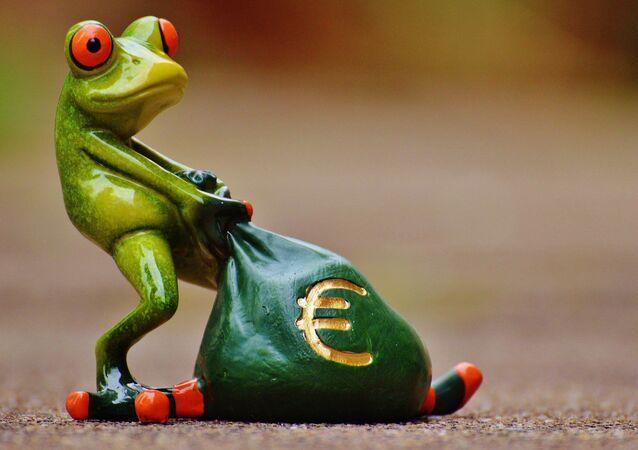 Una rana con un saco de euros