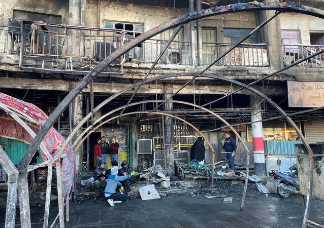 Consecuencias del incendio en una acampada de manifestantes en Irak