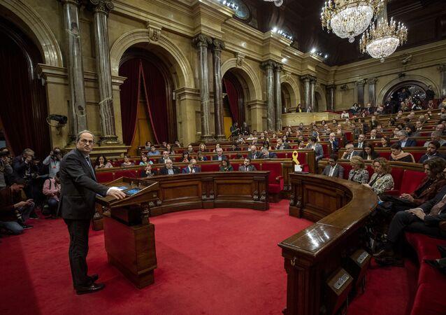 La sesión plenaria del Parlamento de Cataluña, España