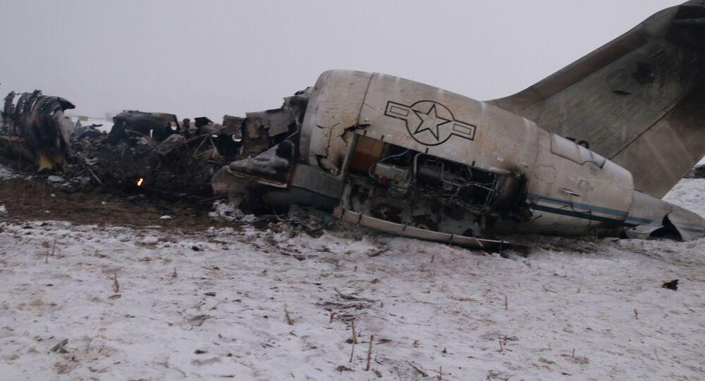 Restos del avión siniestrado en Afganistán, el 27 de enero de 2020