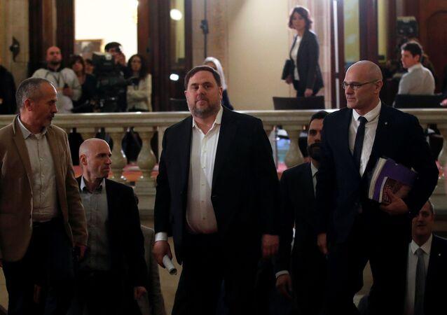 El exvicepresidente catalán Oriol Junqueras y el exconsejero Raül Romeva