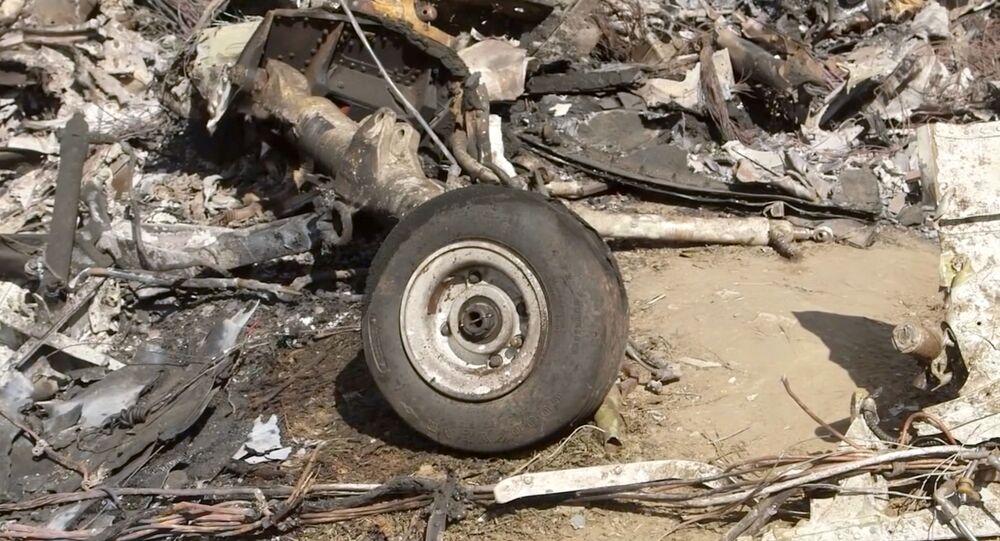Restos del helicóptero accidentado de Kobe Bryant