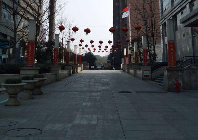 Una calle vacía en Wuhan, la ciudad en cuarentena por el coronavirus