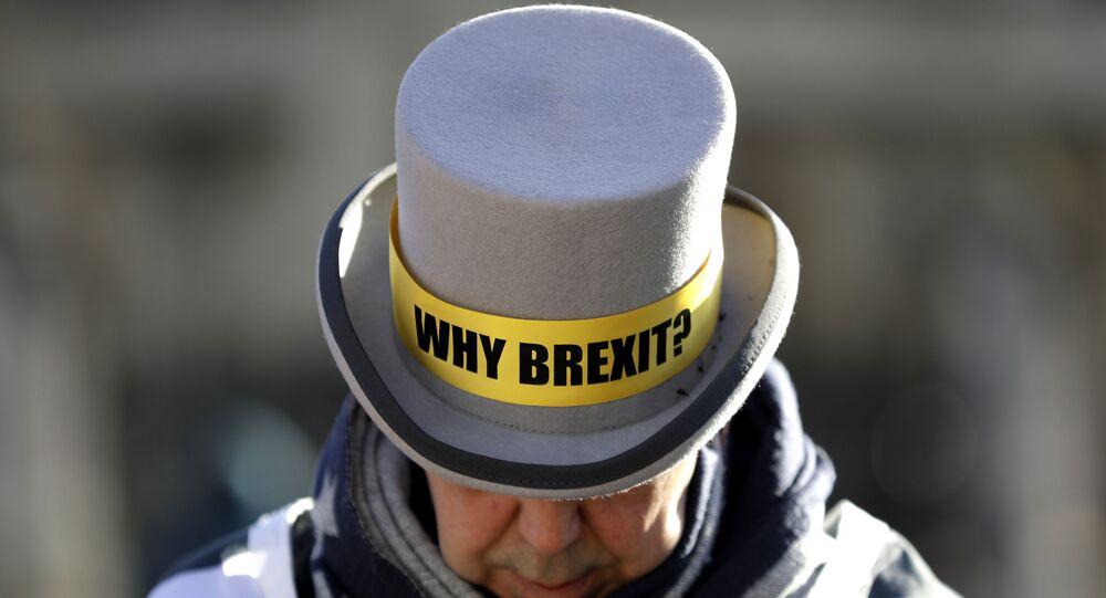 Un manifestante en contra del Brexit