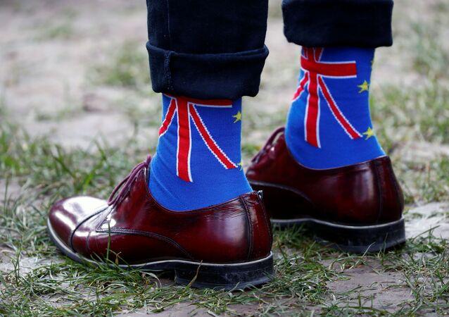 Las calcetines con Union Jack, la bandera del Reino Unido