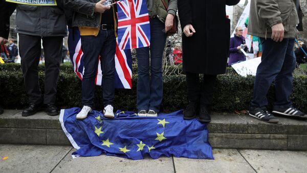 Manifestantes británicos a favor del 'Brexit' pisandouna bandera de la Unión Europea - Sputnik Mundo