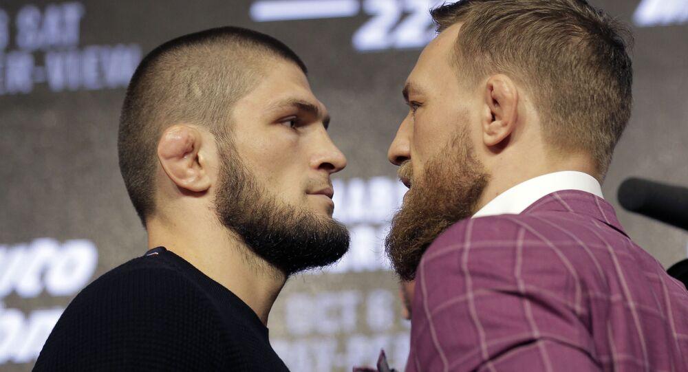 Khabib Nurmagomedov y Conor McGregor, luchadores de artes marciales mixtas (archivo)