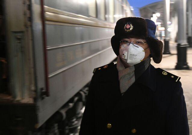 Conductor del tren chino en Rusia