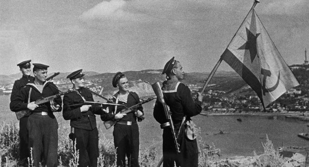 Los marines soviéticos en Port Arthur en octubre de 1945
