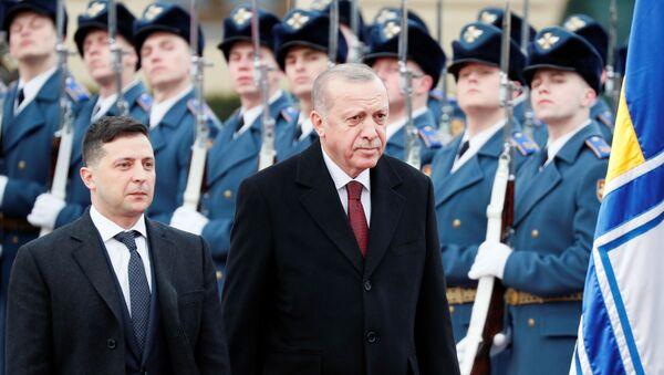 El presidente de Ucrania, Volodímir Zelenski, junto a su homólogo turco, Recep Tayyip Erdogan - Sputnik Mundo