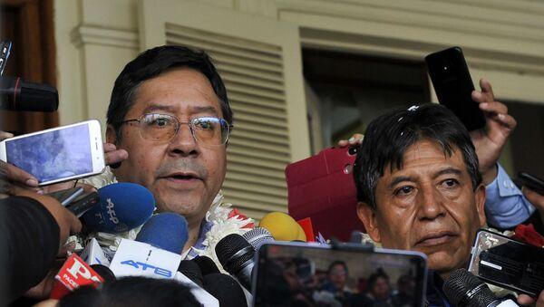 Los canditados a presidente y vicepresidente de Bolivia, Luis Arce y David Choquehuanca - Sputnik Mundo