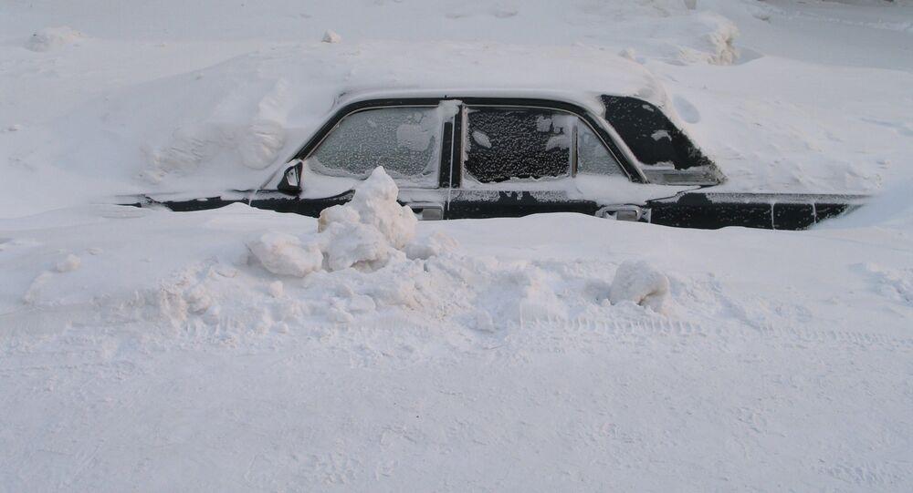 Un banco de nieve en Norilsk