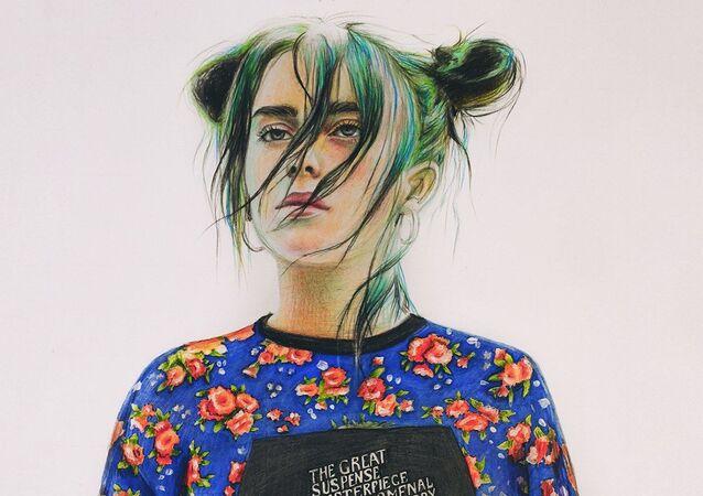Dibujo de la cantante Billie Eilish en la portada de la edición digital de Vogue