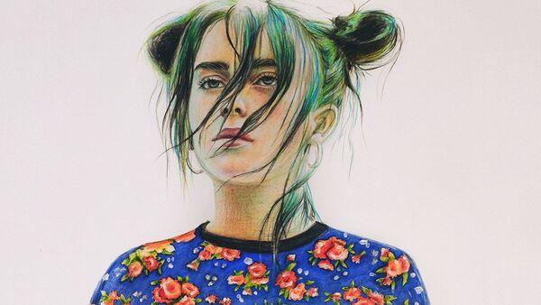 Dibujo de la cantante Billie Eilish en la portada de la edición digital de Vogue - Sputnik Mundo