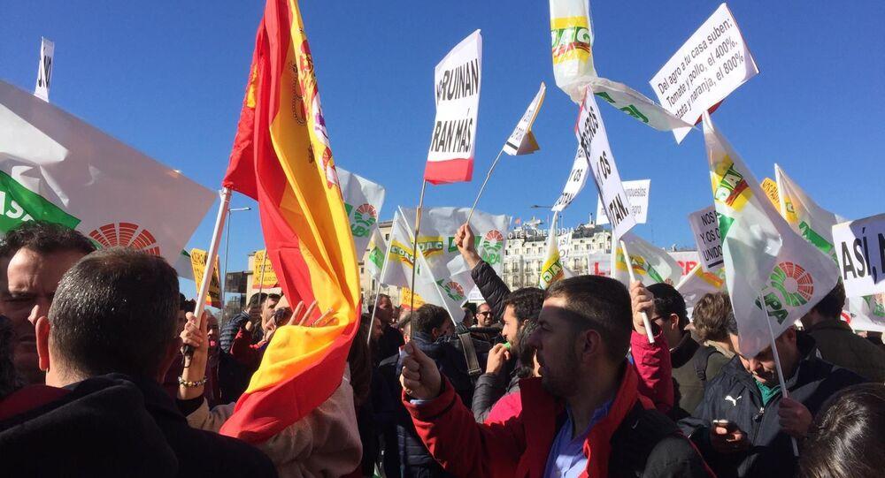 Protesta de agricultores en Madrid