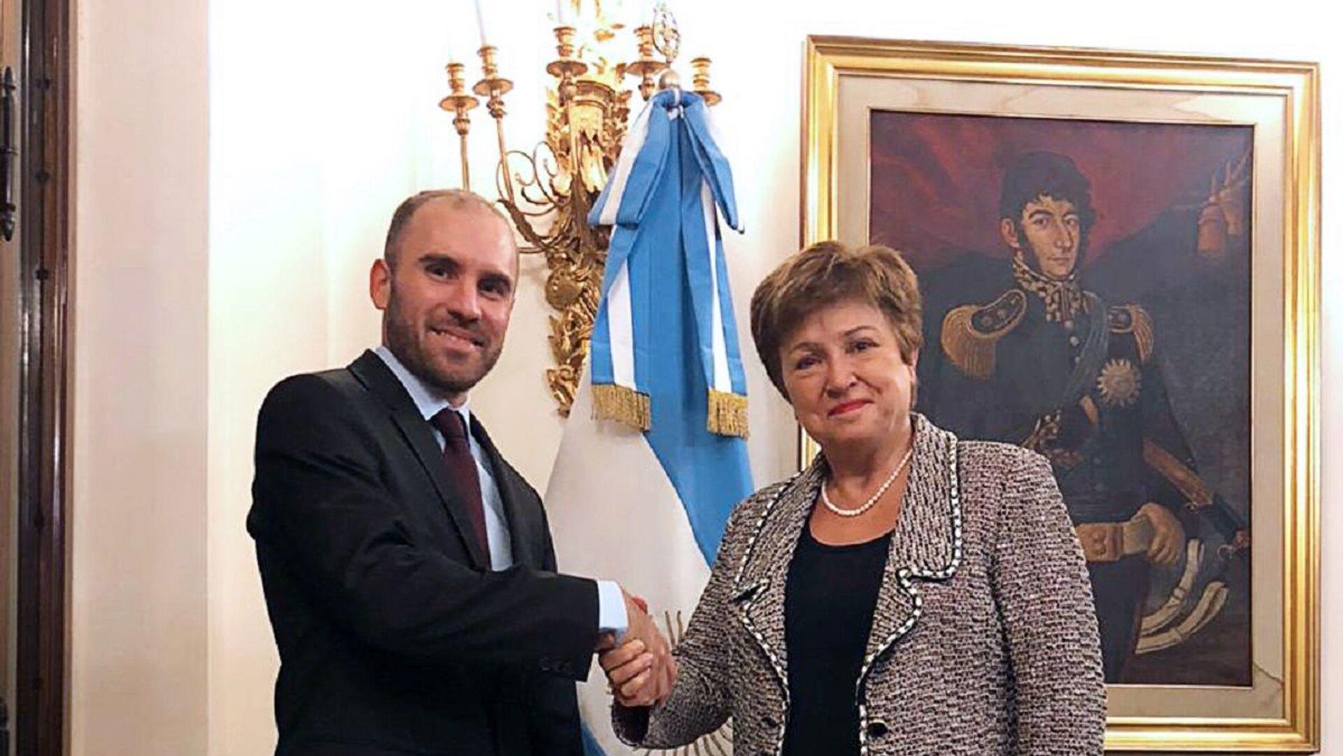 El ministro de Economía Martín Guzmán en reunión con la Directora Gerente del Fondo Monetario Internacional (FMI), Kristalina Georgieva - Sputnik Mundo, 1920, 20.07.2021