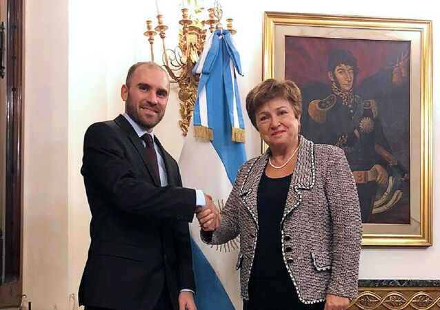 El ministro de Economía Martín Guzmán en reunión con la Directora Gerente del Fondo Monetario Internacional (FMI), Kristalina Georgieva