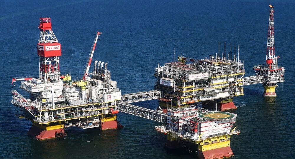 Un campo de petróleo en Rusia