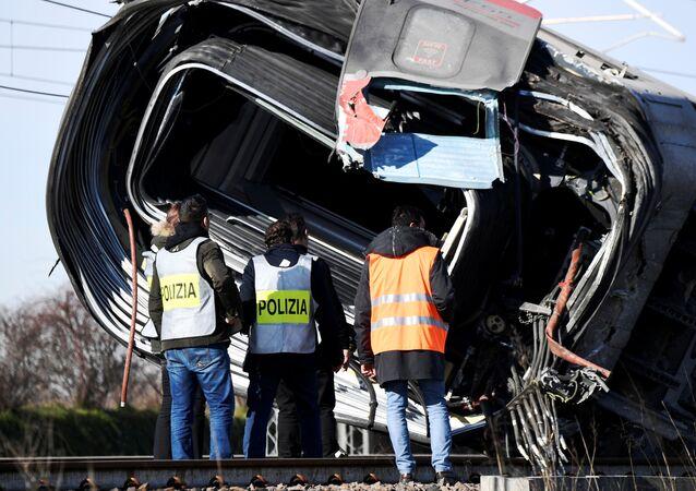 Tren descarrilado en Italia