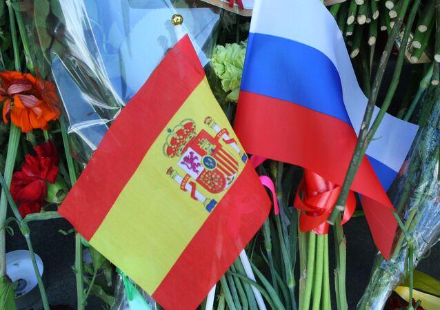 Banderas de Rusia y España
