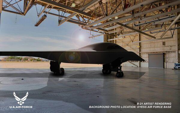 Ilustración del bombardero B-21 Raider en la base aérea de Dyess - Sputnik Mundo