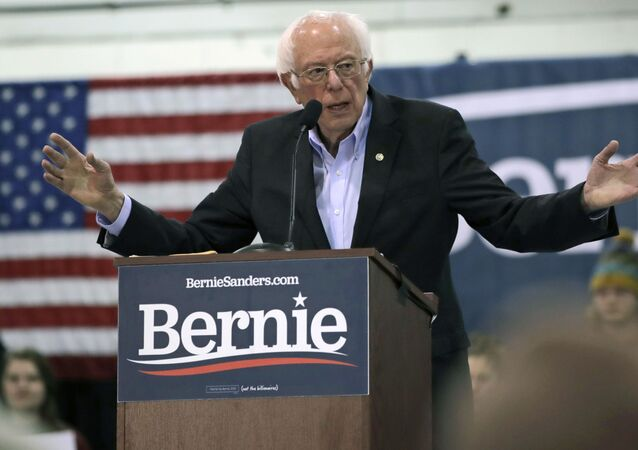 El excandidato demócrata a la Presidencia de EEUU Bernie Sanders durante un acto de campaña