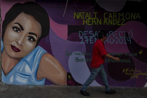El mural de Natali Carmona Hernández desaparecida el 27 de enero del 2019 fue pintado en la calle Cuauhtémoc de la colonia San Lorenzo Tezonco, en la alcaldía Iztapalapa, cerca de su casa donde fue vista por última vez. - Sputnik Mundo